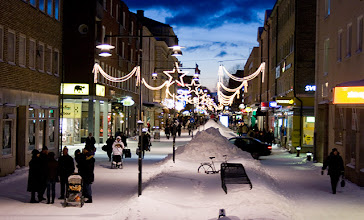 Photo: The main pedestrian street, Drottninggatan with some Christmas lights