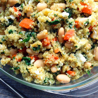 Lemony Quinoa with Spinach, Feta and Beans.
