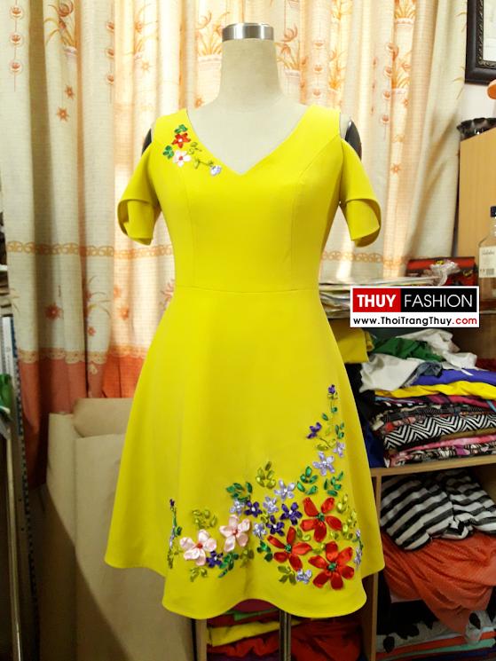 Váy hoa ruy băng dáng váy xòe màu vàng V376 thời trang thủy