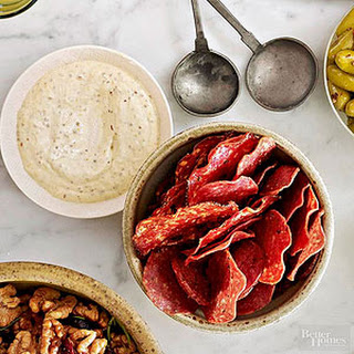 Salami Chips with Grainy Mustard Dip.
