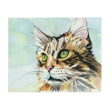 06原裝水彩畫 24x19cm Original Painting Green Eyes Cat