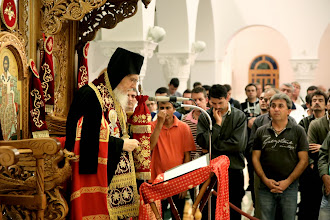 Photo: Проповед на еп. Киприан след отпуста на вечернята.