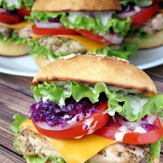 Chicken Burgers With Yogurt Pesto Sauce.