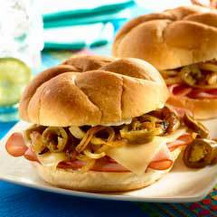 Ham & Cheese Tortas with Sweet Onions & Jalapenos Recipe