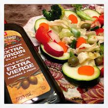 Photo: Lucian's veggie salad recipe #intercer #salad #veggie #food #zucchini #onion #olives #tomato #radish #cauliflower #cabbage #carrot #broccoli #oliveoil #salt #fresh #virgin #green #vegetable #health - via Instagram, http://ift.tt/1zMgOO6