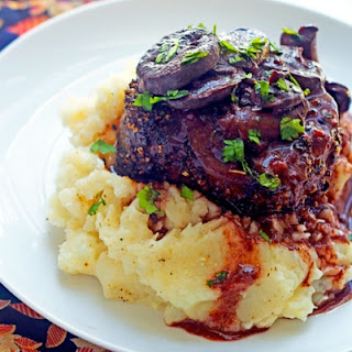 Peppercorn Crusted Filet Mignons with Mushroom Red Wine Sauce