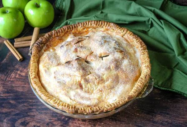 Classic Apple Pie Ready To Be Sliced.