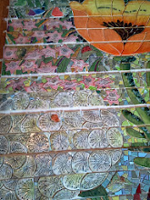 Photo: Saturday, July 20, 2013 Hidden Garden Steps ceramic-tile mosaic preview at St. John of God community hall in San Francisco's Inner Sunset District: Detail of California Poppy and dandelion, on the third large flight of stairs from the bottom of the Hidden Garden Steps. Project artists Aileen Barr and Colette Crutcher completed these elements as part of the 148-step mosaic to be installed on 16th Avenue, between Kirkham and Lawton streets in San Francisco. For more information about the Hidden Garden Steps project, please visit http://hiddengardensteps.org.