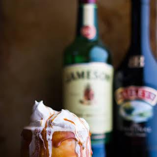Boozy Irish Coffee Milkshake with Baileys Caramel Drizzle.