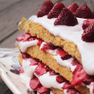 Strawberry (Heart Berry) Sponge Cake with Swiss Meringue and Coconut Cream (Grain Free, Dairy Free).