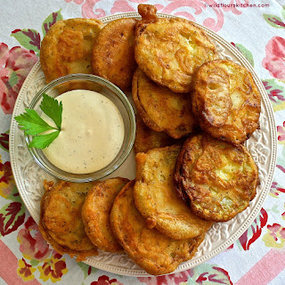 Summertime Beer-Battered Fried Zucchini with Honey-Mustard Ranch Dipping Sauce.