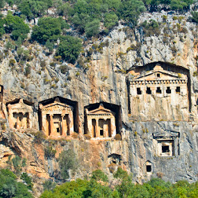 Tombs of the Kings of Caunus, Dalyan River, Turkey by Bill Frank - Buildings & Architecture Statues & Monuments ( cliffs, ancient world, tombs, ruins, turkey, travel, archeology, travel photography, travel locations )
