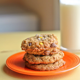 Flourless, No Butter Peanut Butter Cookies with Chocolate Chips, Reese's Pieces and Oats
