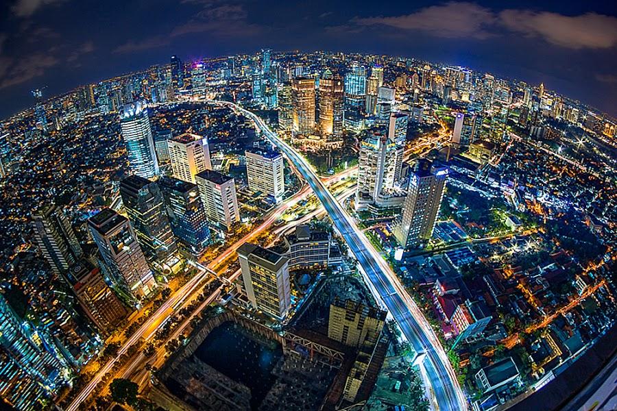 X Town by Hade Hartono - City,  Street & Park  Night ( #fisheye, #cityscapes, #light, #photo, rooftop )