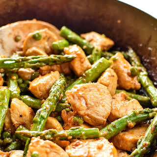 Spicy Chicken and Asparagus Rice Bowls.