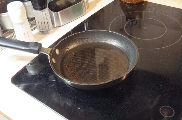 Heat about a 1/4-inch of oil in a pan to 350f (175c).