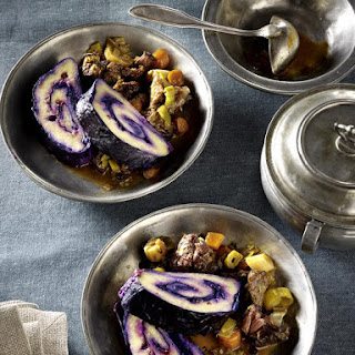Oxtail Stew with Cabbage and Potato Roulade.