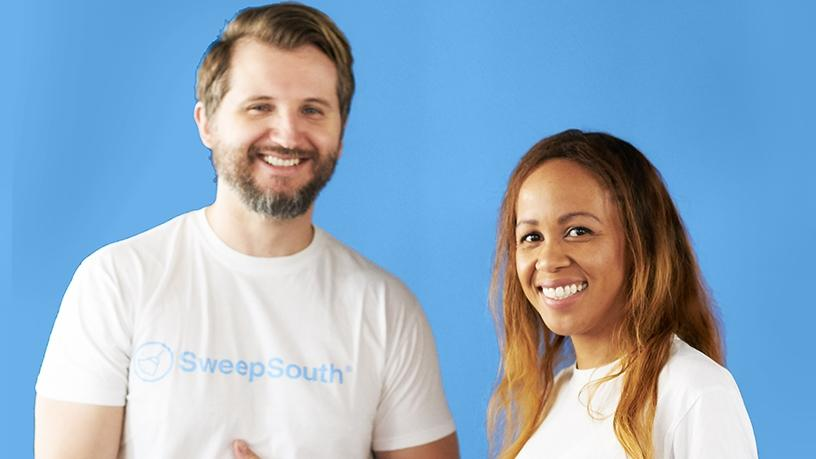 SweepSouth co-founders Alen Ribic (left) and Aisha Pandor (right)