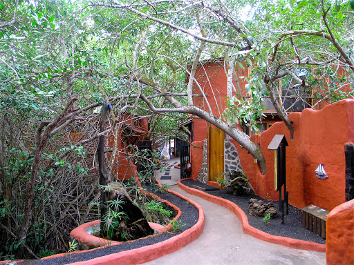 The front of a visitors' lodge in the Galápagos.