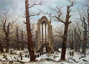 """Photo: Caspar David Friedrich, """"Cimitero dell'abbazia sotto la neve"""" (1817 ca.)"""