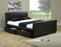Faux Leather storage four Drawer Bed
