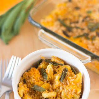 Vegan Butternut Squash Mac and Cheese with Crispy Sage.