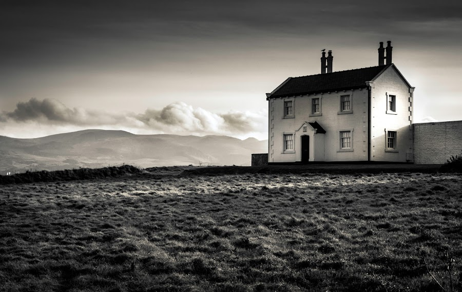 Bleak House by Mike Shields - Landscapes Mountains & Hills ( clouds, sky, penmon point, trinity house. black & white, cottages )