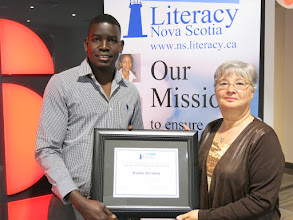 Photo: 2016 Gary Mason Learner Achievement Award Winner Hakim Ibrahim with Janice Mason, the wife of the late Gary Mason, who passed away in January 2016.  Gary was a school teacher at the former Lunenburg Regional Vocational School, Mahone Bay Jr. High School and Centre Consolidated; he also served as principal for the Adult Education and Alternate Schools, but foremost, Gary was an educator demonstrating this passion in every aspect of his life. Gary led the LNS pilot project which evolved into the Practitioner Training and Certification Program.