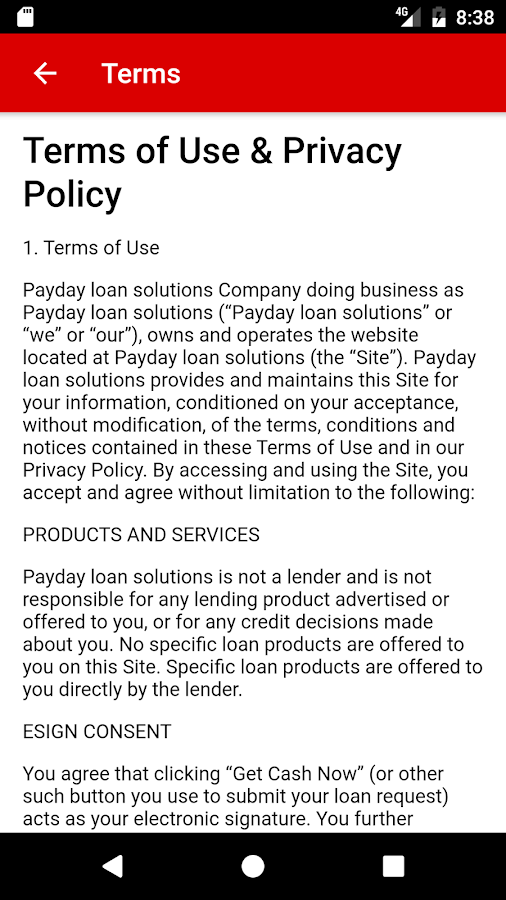Payday Loan Solutions- screenshot