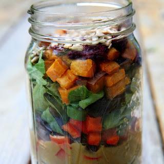 Roasted Sweet Potato and Quinoa Salad With Mango Balsamic Vinaigrette.