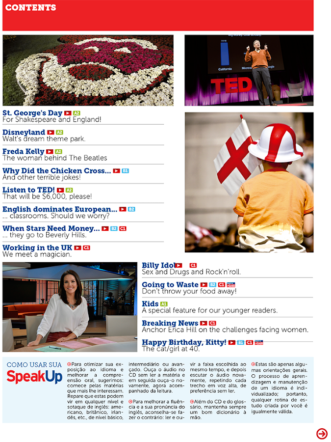Revista Speak Up: captura de tela
