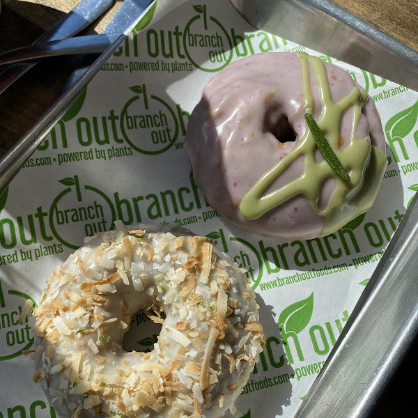 Toasted coconut and lime donut and grapefruit rosemary donut. Delicious!
