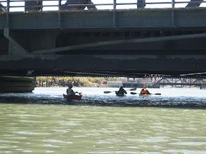 Photo: Greeting an fellow kayaker under the bridge