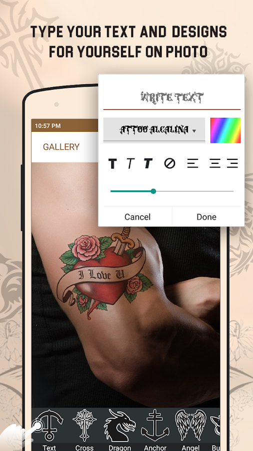 Tattoo my photo android apps on google play for Design your own tattoo app