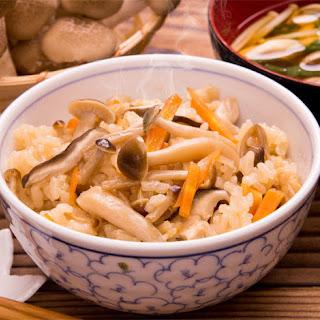 Mushroom Topped Donburi Rice Bowl.