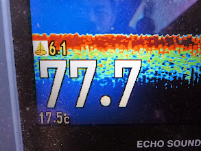 Photo: 魚群探知機はフィーバーしているが・・・。 魚がイマイチ。