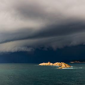 Shelf Cloud Panorama by Daniel Pavlinović - Landscapes Weather ( dubrovnik, croatia, cumulonimbus, cloud, shelf, storm )