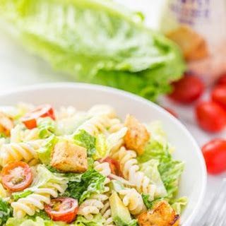 Caesar Salad with Pasta and Avocado