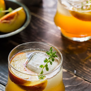 Roasted Peach Bourbon Cocktail.