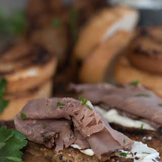 Roast Beef Bruschetta with Horseradish Cream Cheese.