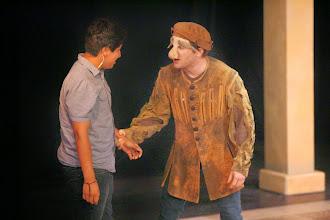 Photo: Launcelot and Conscience.Merchant of Venice, Shakespeare Center Los Angeles. Photo, Michael Lamont.
