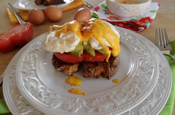 MexiCali Eggs Benedict with Adobo Hollandaise Sauce