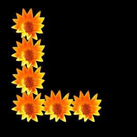 L by Paul Wante - Typography Single Letters ( letter, yellow, typography, flowers, design )