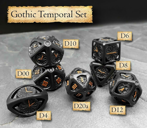 Kobold Lab's Gothic Temporal gamer dice set is the castle luxury option