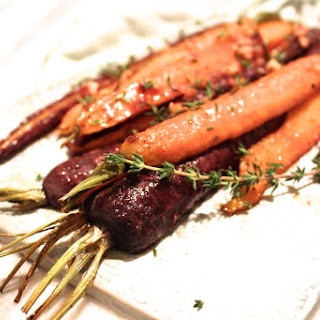 Thyme Roasted Carrots with Maple Dijon Glaze.