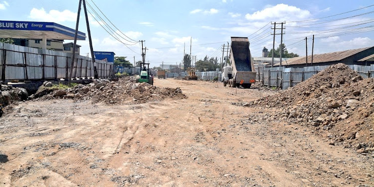 A past photo of construction works along Likoni road, section between Jogoo road and Lunga Lunga road taking shape in January, 2021