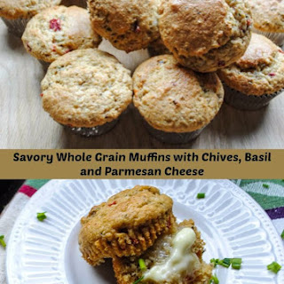 Krusteaz Organic Whole Grain Muffins with Garlic, Chives, Basil, and Parmesan Cheese.