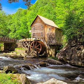 Glade Creek Grist Mill by Sandy Friedkin - Buildings & Architecture Public & Historical ( building, waterfall, grist mill, water wheel, historical, scenic, landscape, river,  )