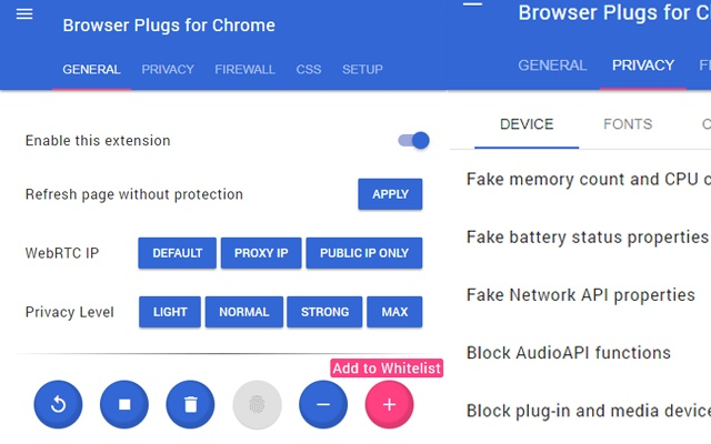Browser Plugs Fingerprint Privacy Firewall