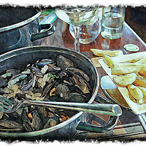 Moules et Frites by Pam Blackstone - Digital Art Places ( wine, fries, mussels and fries, mussels, french fries, moules et frites )